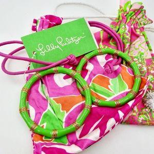 LILY PULITZER Green Enamel Bangle Bracelets 2 NWOT